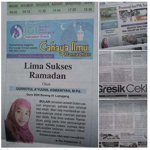 Tulisan Bu Qurrotul A'yuunil Asmawiyah M.Pd, Guru SDN Boreng 01 Lumajang