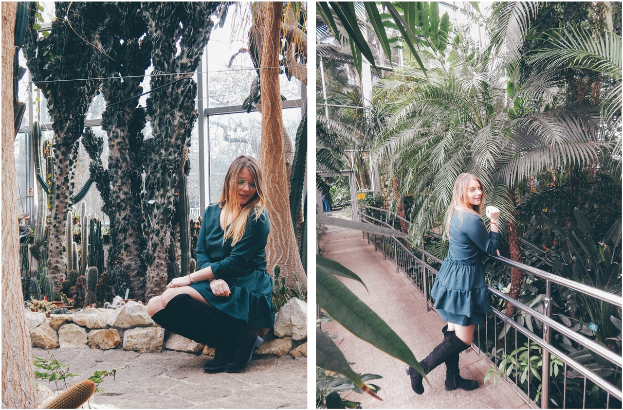12 nagłówek mia gold zielona sukienka butelkowa zieleń z falbankami czarne muszkieterki za kolano deichmann blond fryzury modne 2018 ombre somblre daniel wellington sesja w palmiarni skórzany pasek palmy łódź