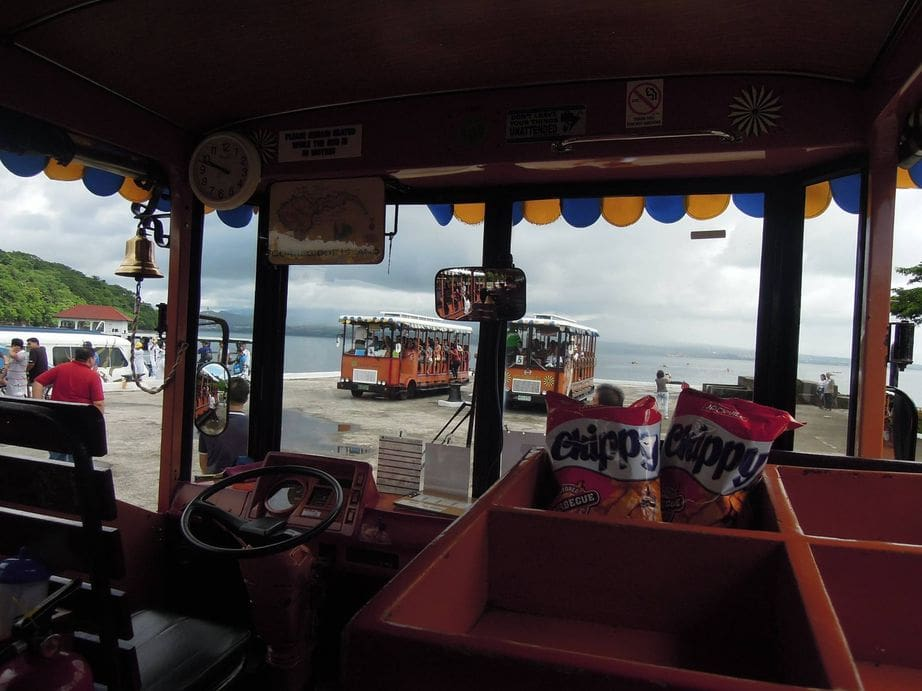 Inside a tranvia in Corregidor Island