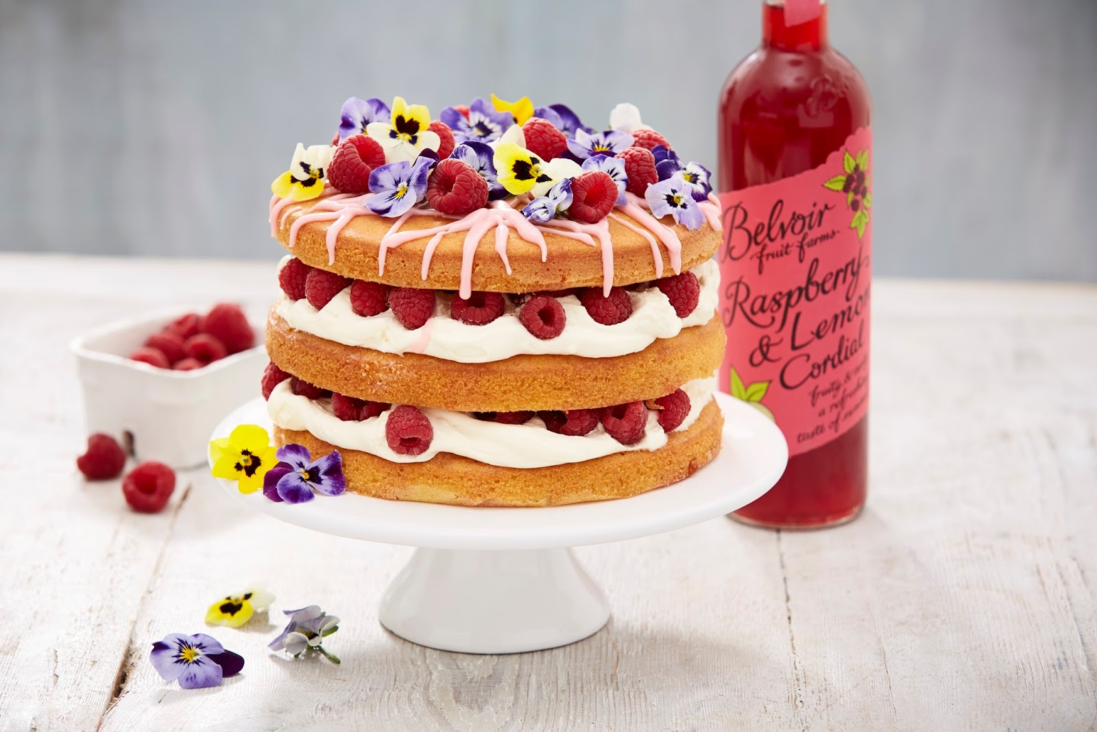 Gluten Free Semolina And Raspberry Layer Cake With Raspberry And Lemon Syrup