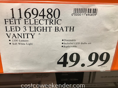 Costco 1169480 - Deal for the Feit Electric LED 3-Light Bath Vanity at Costco