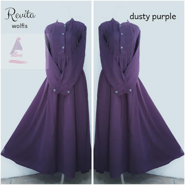 Gamis Revita wolpeach warna dusty purple kancing depan