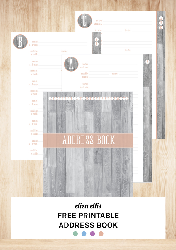 Free Printable Contact Pages & Address Book by Eliza Ellis