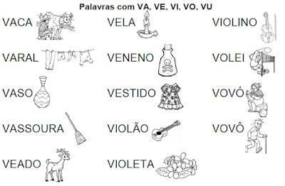 Lista de palavras e desenhos da família silábica VA-VE-VI-VO-VU
