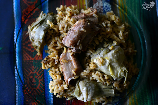 receta de arroz con costilla de cerdo y alcachofas tererecetas 03