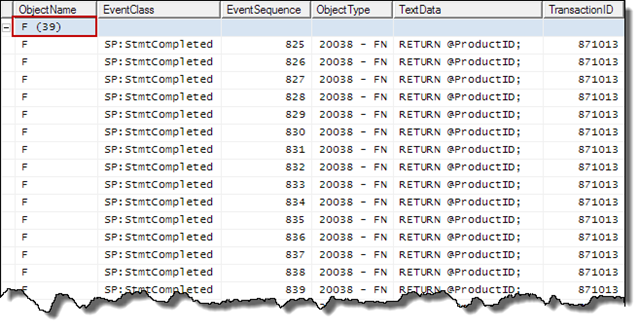 Profiler trace for cold cache executoin