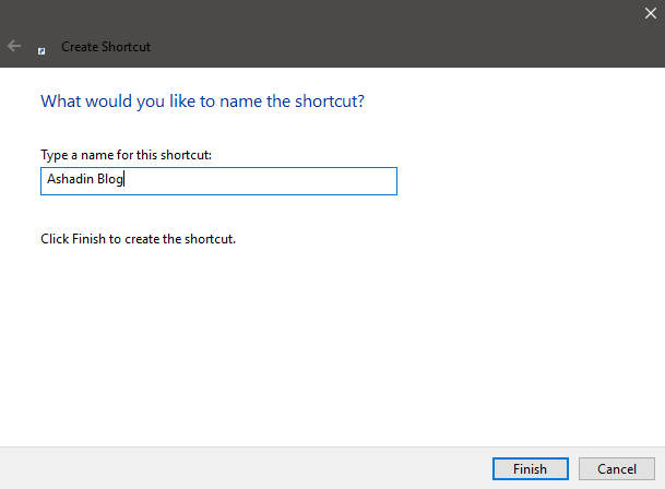 Cara membuat shortcut web di windows