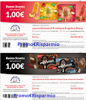 Logo Stampa i buoni sconto da 1 euro per Fruittiamo e Non Mordere