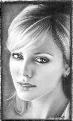 Retratos a lápiz de mujere famosa - Charlize Theron