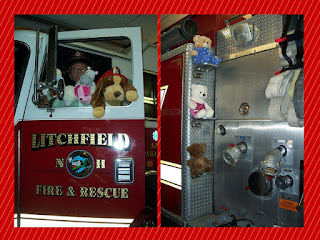 Stuffed Animal Sleepover is April 6, 2017 || photo of stuffed animals at Fire Department