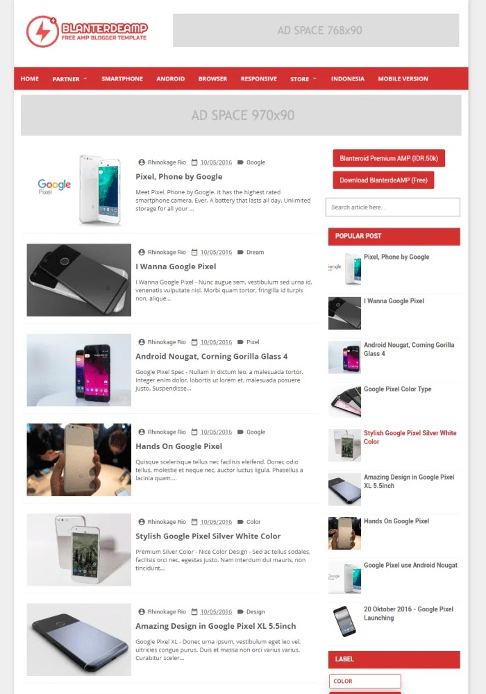 Blanterde AMP Best Free Responsive Blogger Templates