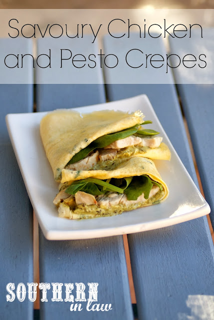 Gluten Free Low Carb Savoury Chicken and Pesto Crepe Recipe - Omelette Crepes
