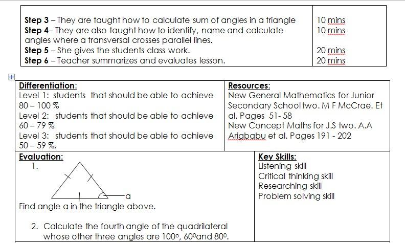 Sample Lesson Plan Mathematics 1st Term Js 2 Week 5 Xpino Scholars