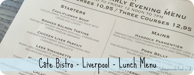 Côte Bistro  Liverpool  Lunch Menu review