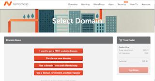 chọn domain khi mua hosting namecheap