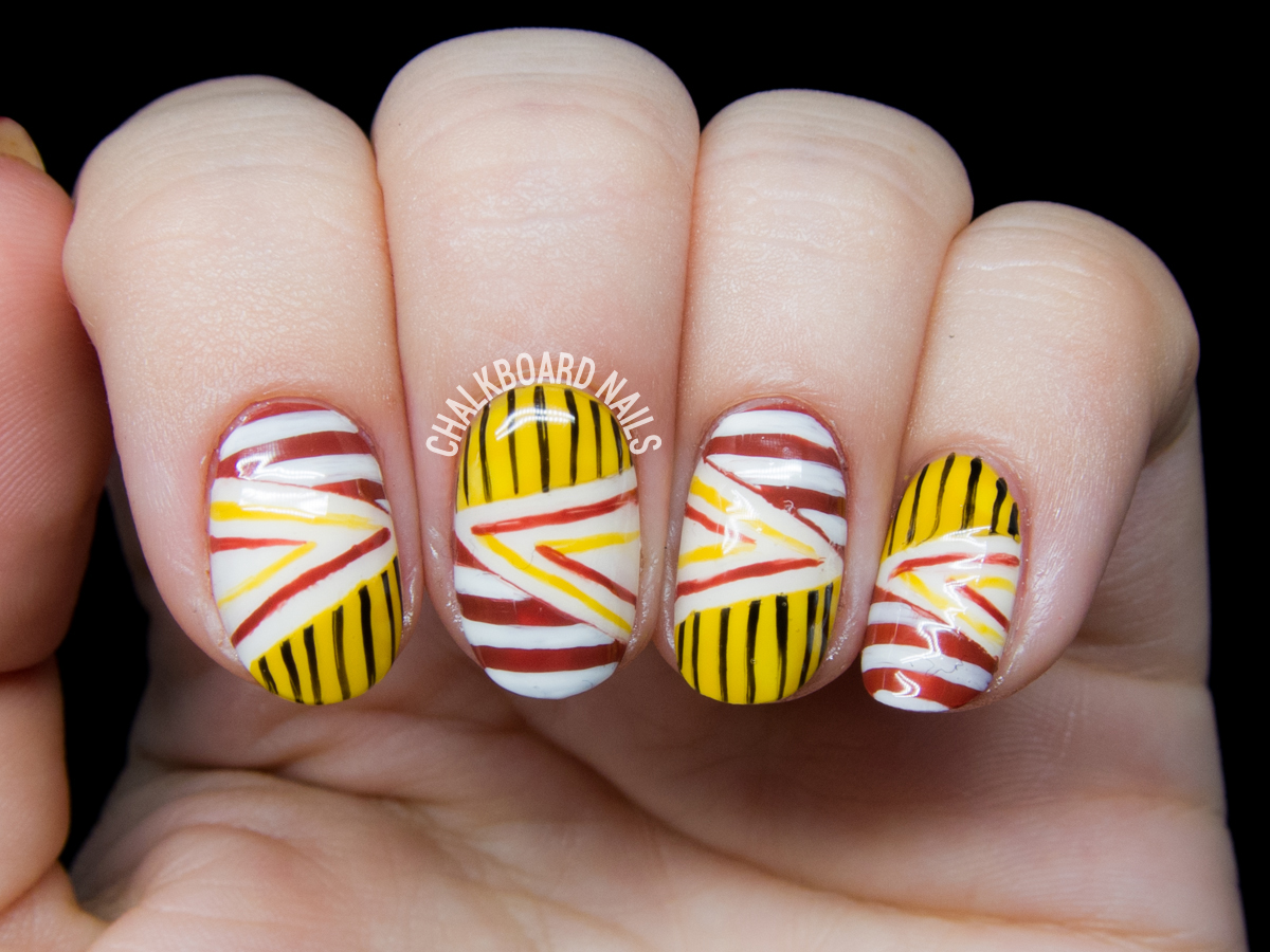 Pattern blocking nails by @chalkboardnails