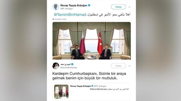 أردوغان يغرّد بالعربي مُرحّبًا وتميم يرد بالتركي مبتهجاً
