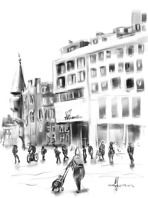 Urban sketch Malmö Triangelen by Ulf Artmagenta