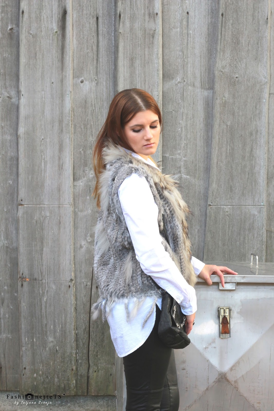 Ootd Grey Fur Vest Fashionettets By Tatjana Svenja