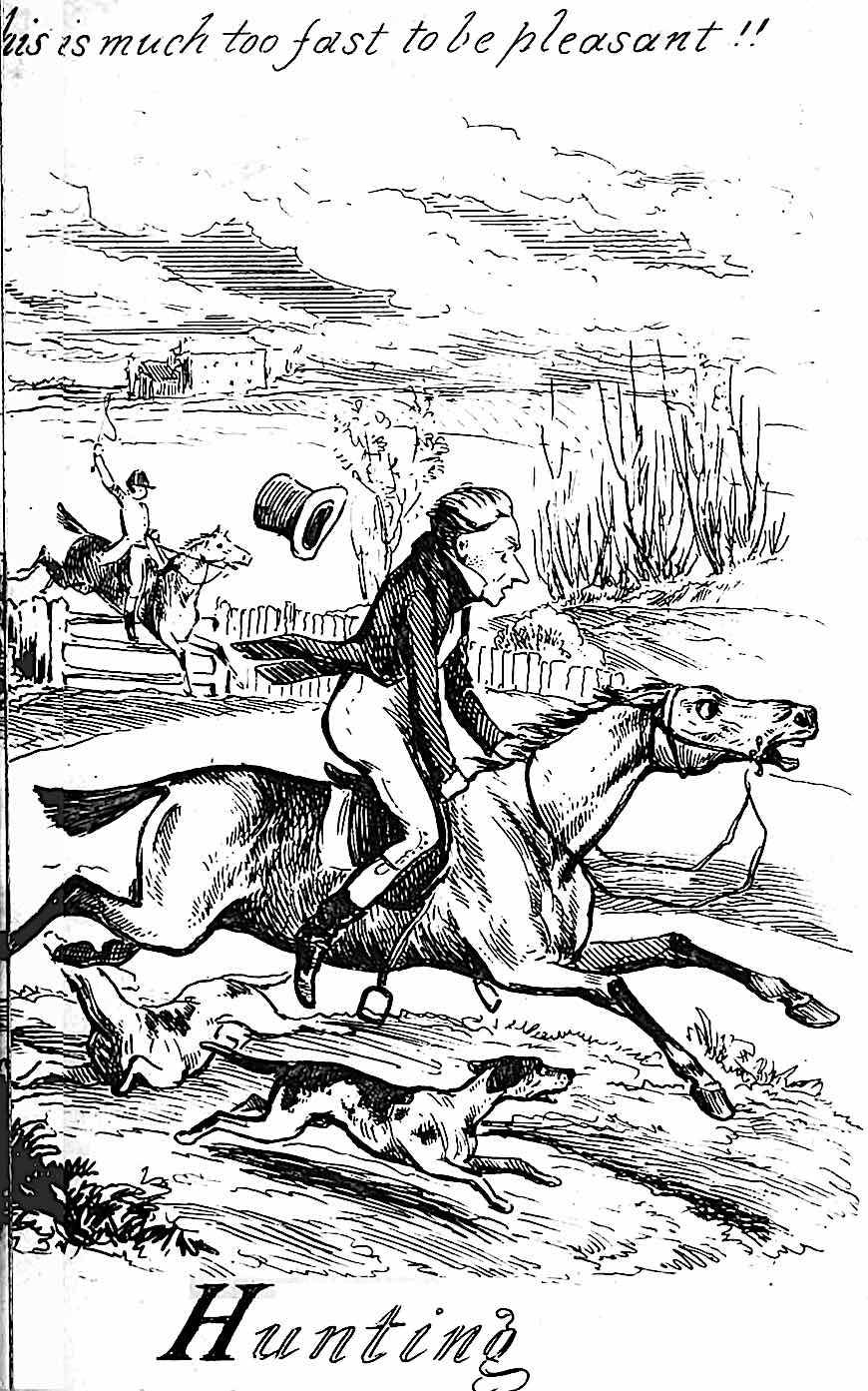 a George Cruikshank cartoon about fox hunting, This is much too fast to be pleasant!!