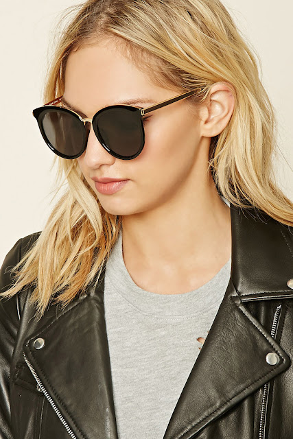 black cat eye style sunglasses