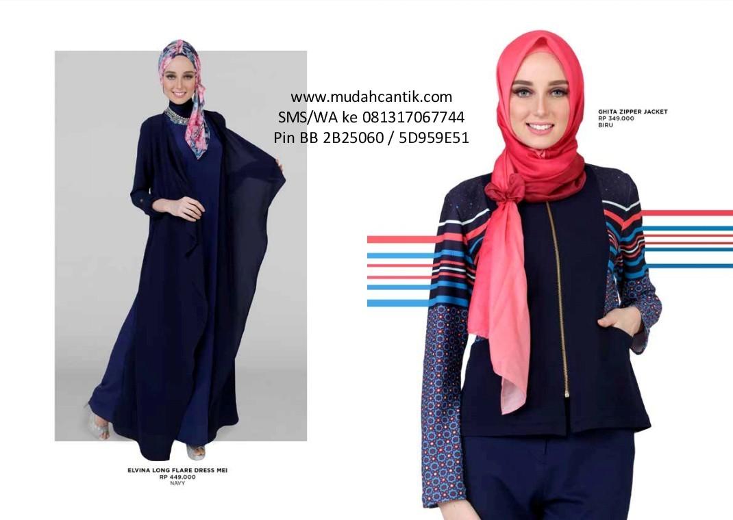 Baju Gamis Zoya 2017 Ghita Top Putih Lebaran Muslim