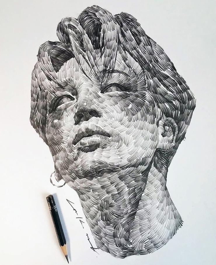 retratos-de-carbón-del-artista-Lee-K