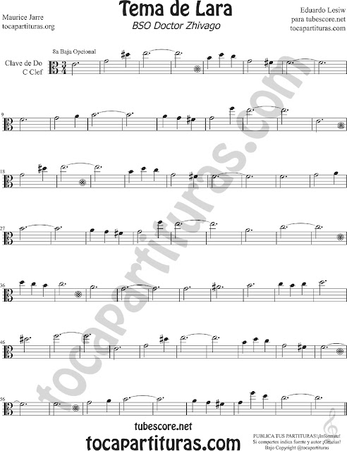 Tema de Lara Partitura en Clave de Do para Viola Sheet Music for Viola