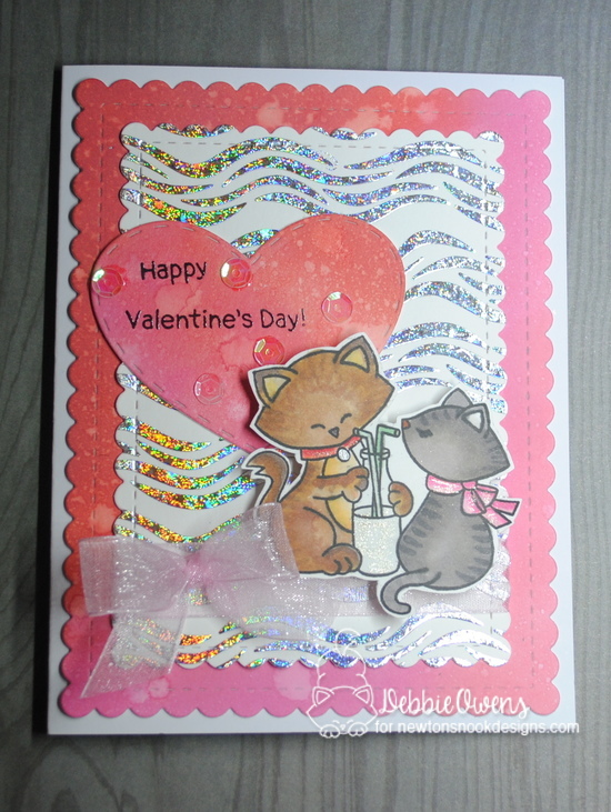 Happy Valentine's Day by Debbie features Newton's Sweetheart, Waves, Darling Hearts, Framework, Frames & Flags by Newton's Nook Designs; #newtonsnook