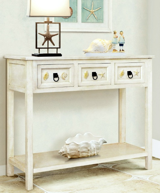 Coastal Console Table with Drawers