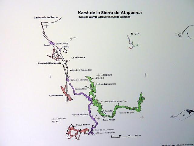 Plano del sistema karstico de la Sierra de Atapuerca