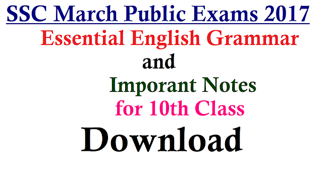 10th Class English Grammar Important Notes Download | Vocabullary Convention of Writing Opposite words Synonyms Antonyms Tenses Articles Parts of Speach Offical Letter writing Personal Letter Writing Paragraph Reading useful for SSC Public Examinations March 2017 Essential English Grammar and Imporant Notes for 10th Class SSC Students who are going to appers March 2017 exams | Download Effective English Notes by Experts for SSC Public Examinations 10th-class-english-grammar-important-notes-ssc-public-examinations-download| Download Important Notes of 10th Class English Grammar/2016/12/download-important-notes-of-10th-class-essential-english-essential-grammar-important-notes.html