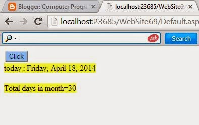 How to get total days of month in asp.net c#