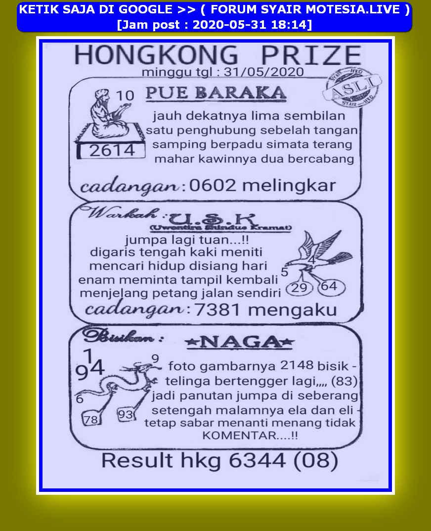 Kode syair Hongkong Minggu 31 Mei 2020 31