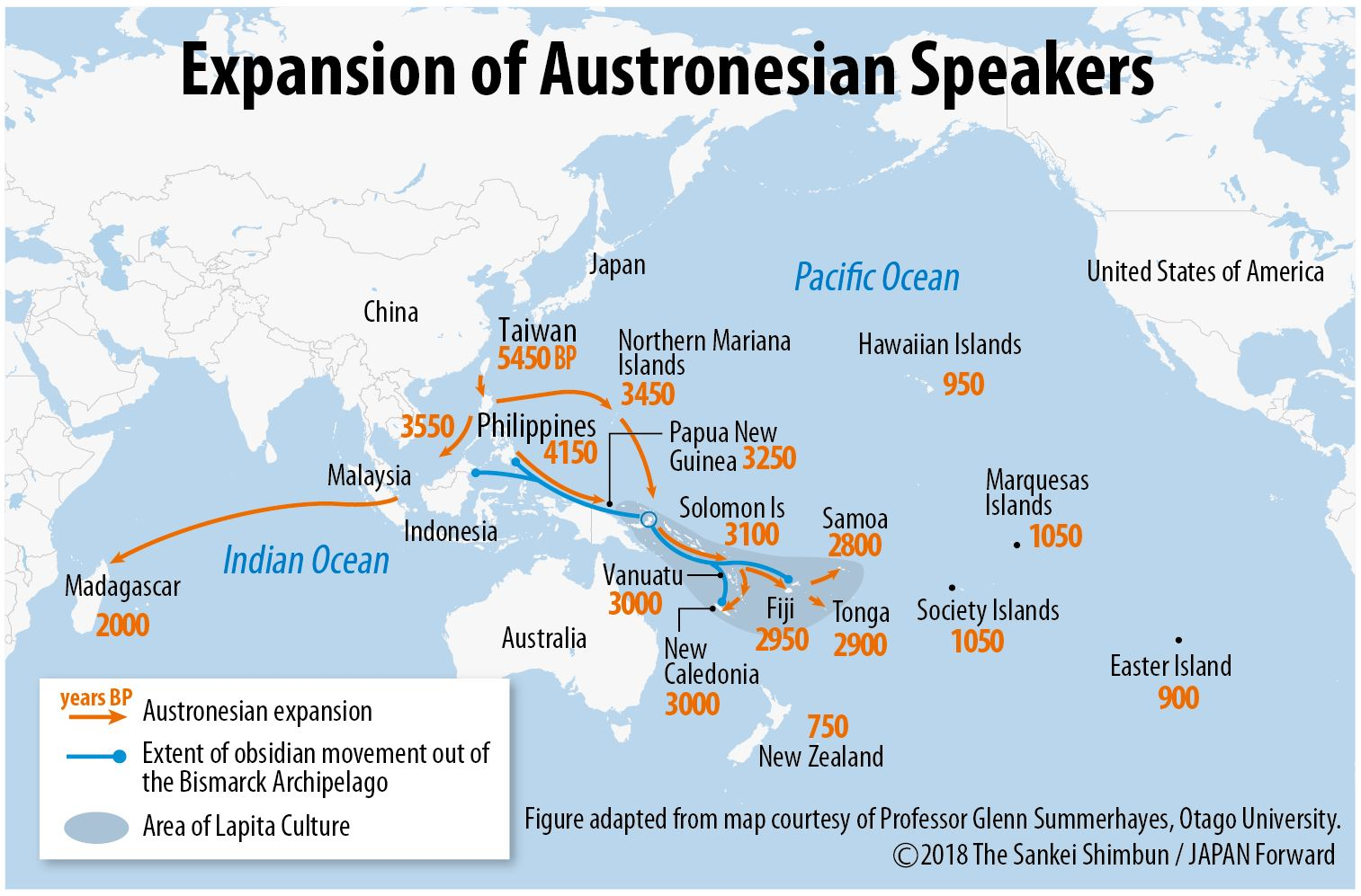 as china vies with the usa for control of the pacific japan forward offers this map of the spread of austronesian languages