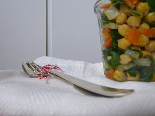 Salat im Glas, Rezept, vegan, Mangold, Kichererbsen, Blog