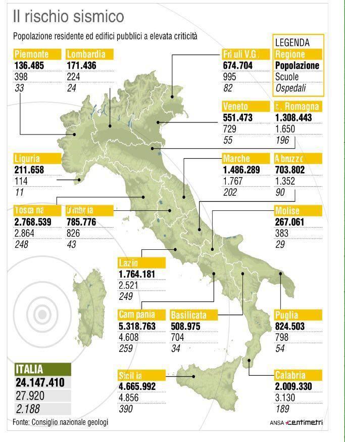 M5s questa e 39 la mappa del rischio sismico in italia for Rischio sismico in italia