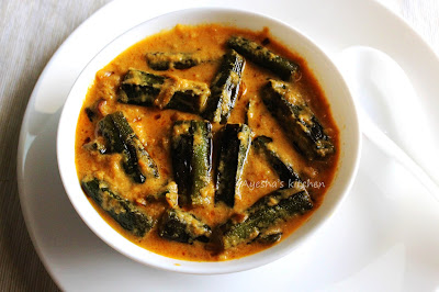 yummy tasty awesome recipes bhindi in tomato curd gravy yummy chapathi or rice  side dish