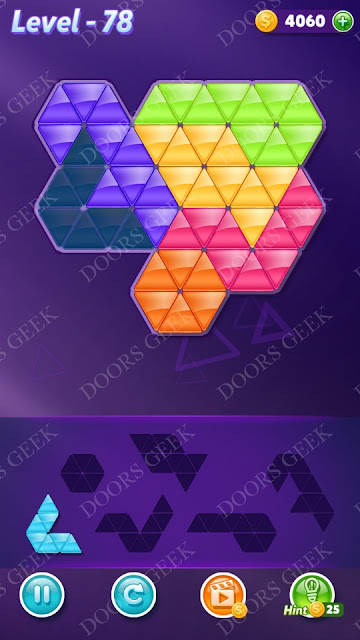 Block! Triangle Puzzle Intermediate Level 78 Solution, Cheats, Walkthrough for Android, iPhone, iPad and iPod