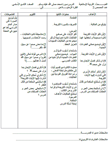 تحضير تربية إسلامية للصف التاسع