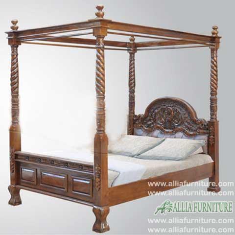 tempat tidur jati kanopi ukiran kanista