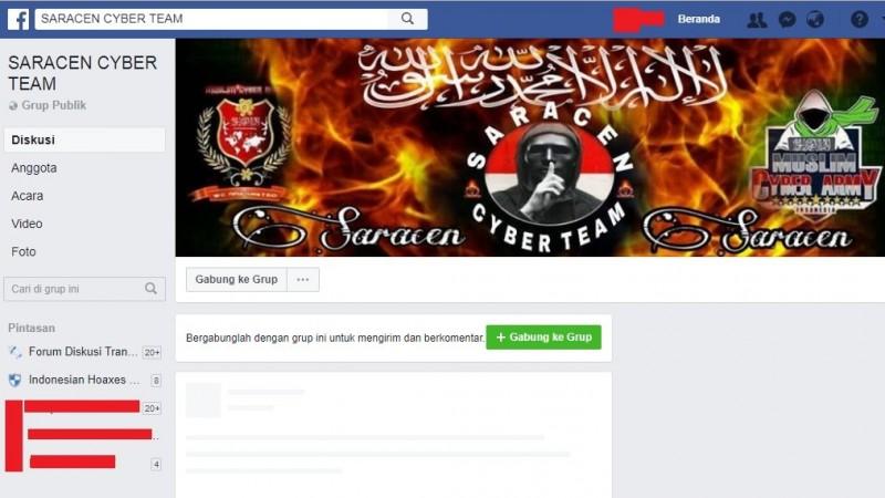 Grup Saracen Cyber Team di Facebook