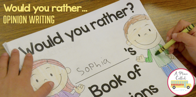 "Set up a ""Would You Rather?"" opinion writing station in your classroom. Project the ""Would You Rather?"" choice of the day on your Smartboard. Write opinions all year long by having a ""Would You Rather?"" Wednesday. Make each of your students a ""Would Your Rather?"" opinion writing book. There are 50 ""Would You Rather?"" opinion questions in this unit. Download, print and start having your students write about their opinions."