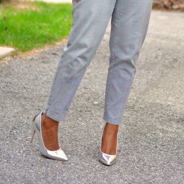 plaid trousers worn with silver pumps