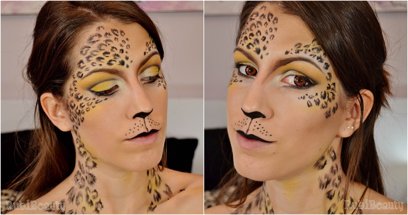 rubibeauty facepaint tutorial maquillaje makeup animal print leopard leopardo