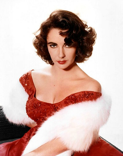 Elizabeth Taylor in Red Gown and White Fur in Studio Publicity Photo circa 1955