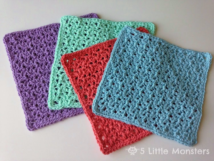 5 Little Monsters Blossom Stitch Crochet Washcloths