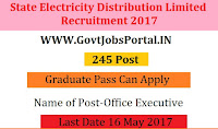 State Electricity Distribution Limited Recruitment 2017– 245 Office Executive
