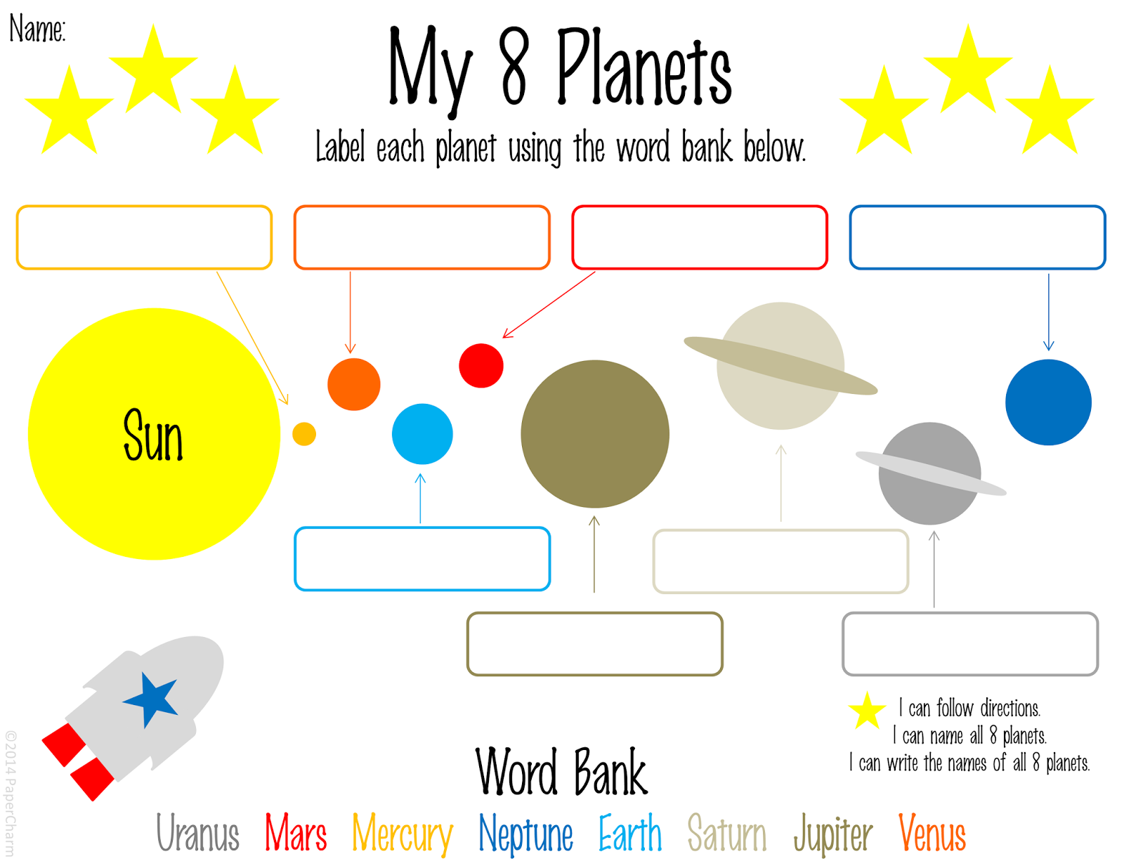 PaperCharm Free 1st Grade Planet Printables
