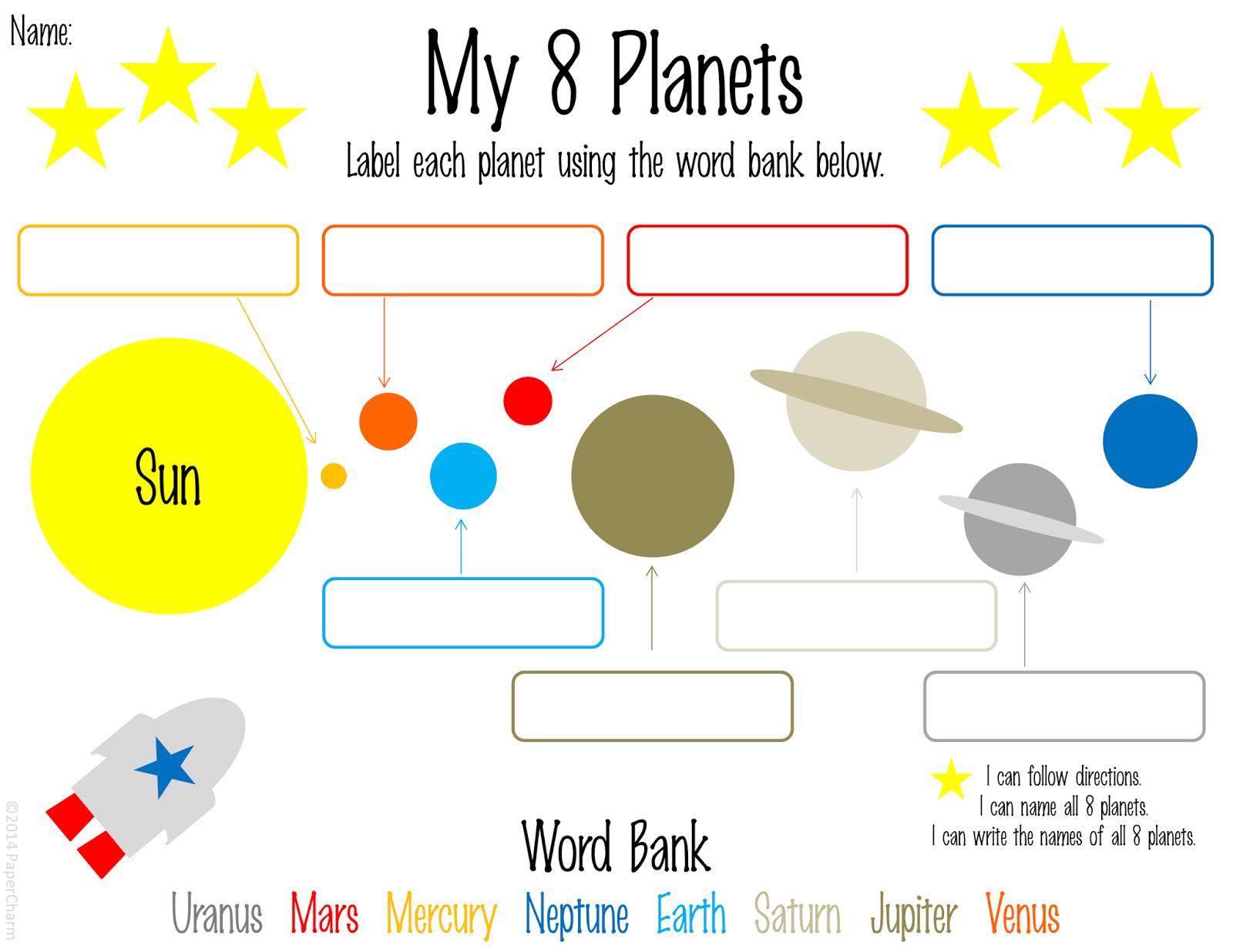 Papercharm Free 1st Grade Planet Printables